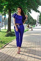 Брючный костюм (блузка и брюки, цвет - синий, ткань - габардин) Размер S, M, L (розница и опт)