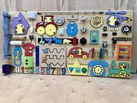 БизиБорд 120х60 см (45-50 развивающих элементов) от 8 месяцев до 5 лет, фото 1