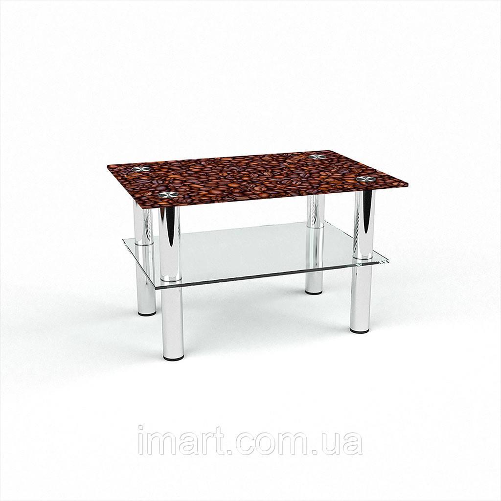 Журнальный стол прямоугольный с полкой Coffee aroma стеклянный