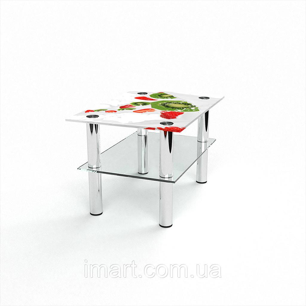 Журнальный стол прямоугольный с полкой Fruit&Milk стеклянный
