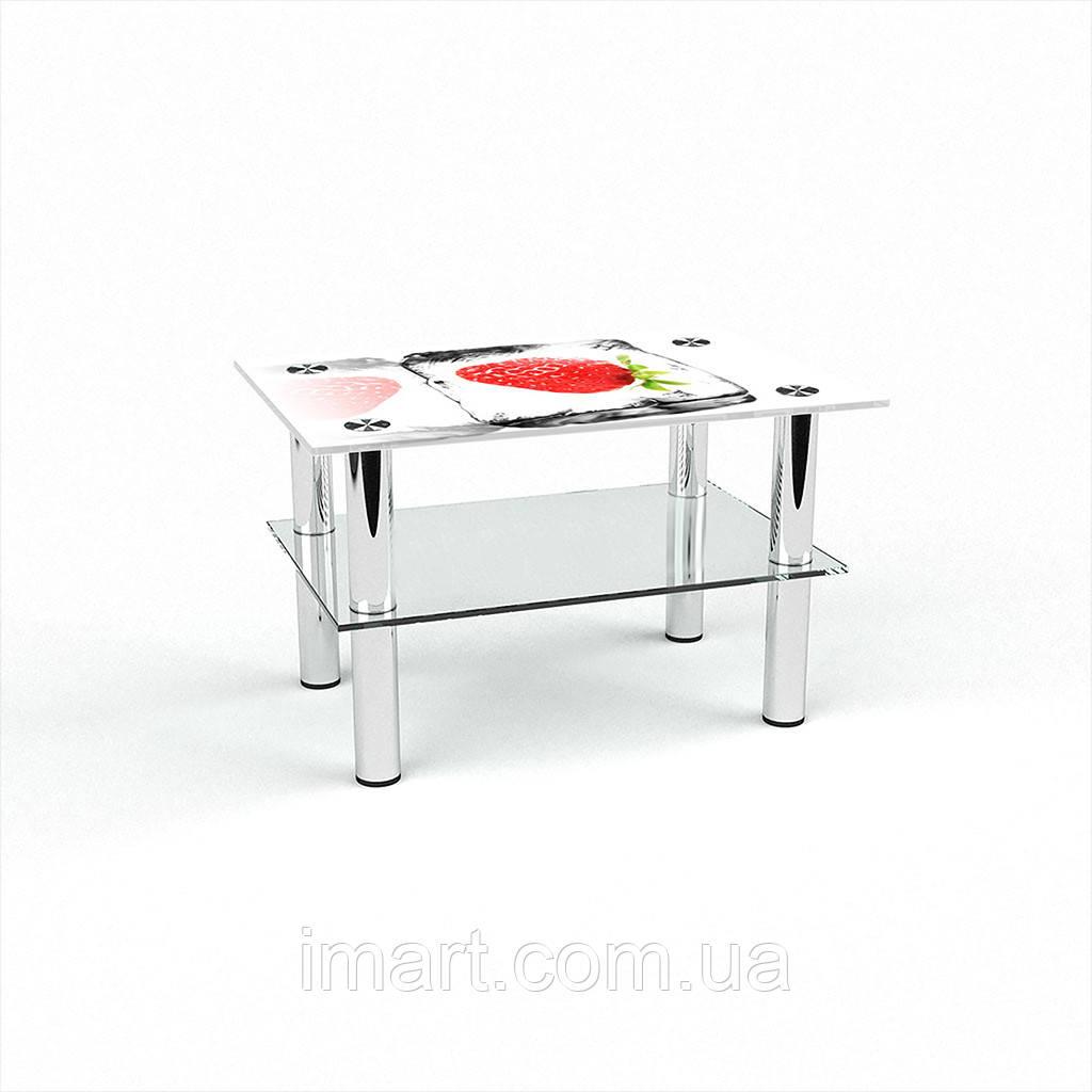 Журнальный стол прямоугольный с полкой Ice berry стеклянный
