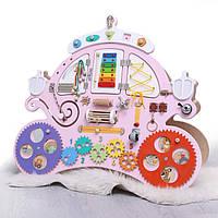 Бизиборд Карета для принцессы (90х75 см) Одностороний - 27 элементов. Цвета: белый, розовый