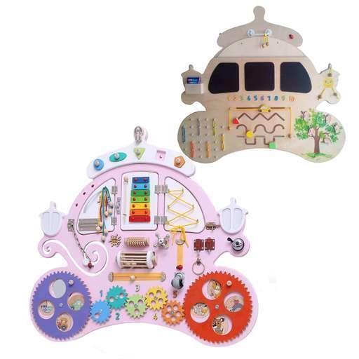 Бизиборд Карета для принцессы (90х75 см) Двухстороний - 35 элементов. Имя в подарок!