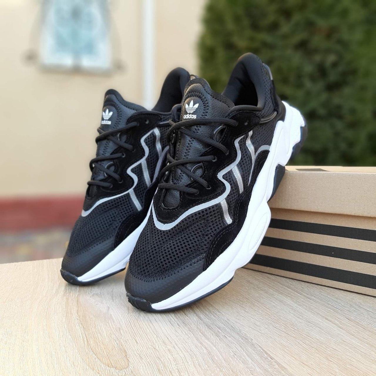 Чоловічі кросівки Adidas OZWEEGO TR чорні на білій підошві