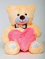 Мишка с сердцем подарок на День Святого Валентина  Бежевый 85 см
