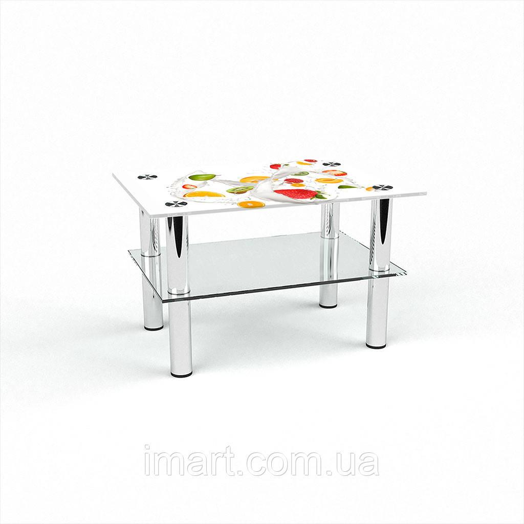 Журнальный стол прямоугольный с полкой Milkshake стеклянный