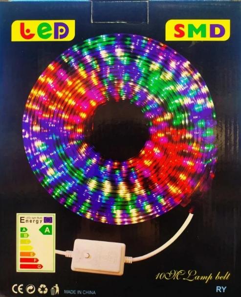 Трикутна світлодіодна стрічка, RGB 10м, 6 кольорів (7195) /Новорічна світлодіодна гірлянда-стрічка 10M RGB
