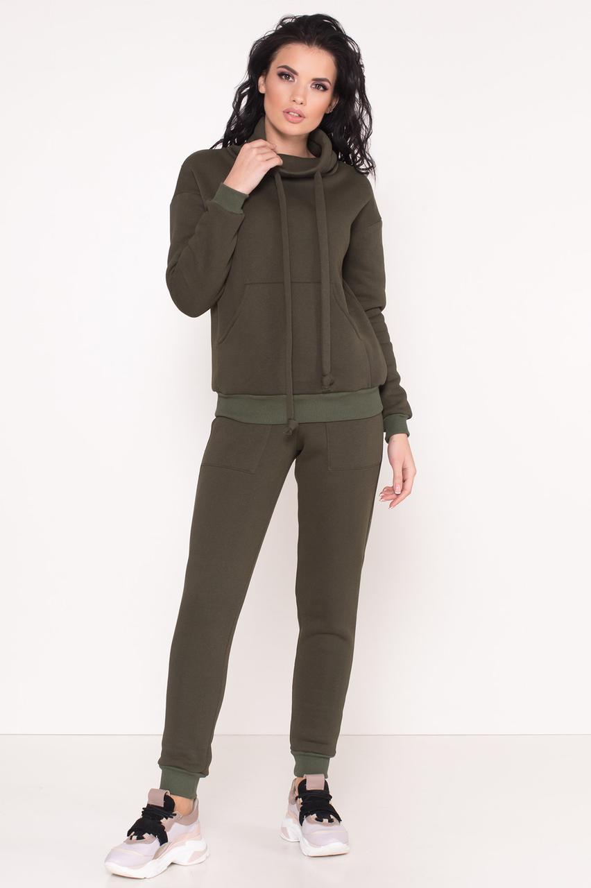 Прогулочный женский трикотажный костюм темно-зеленый