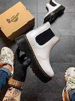 Женские ботинки  Dr Martens Chelsea White (Мех) / ботинки женские Др Мартенс