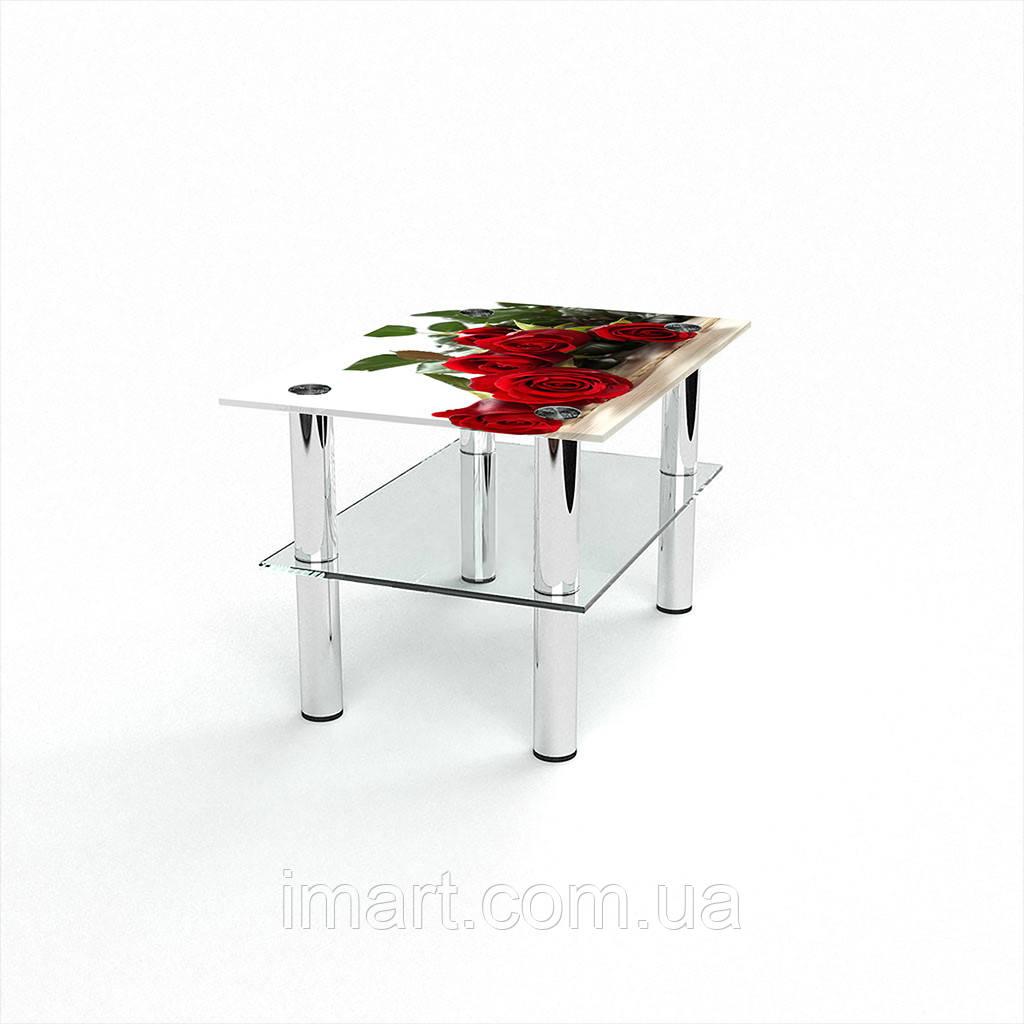 Журнальный стол прямоугольный с полкой Red Roses стеклянный