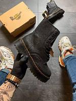 Женские ботинки  Dr Martens Jadone Glitter Black / ботинки женские Др Мартенс