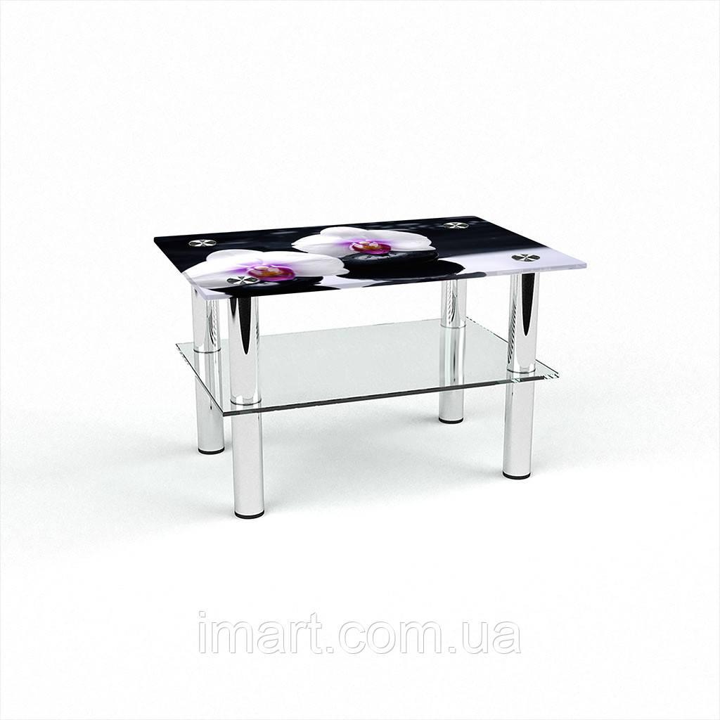 Журнальный стол прямоугольный с полкой Relax стеклянный
