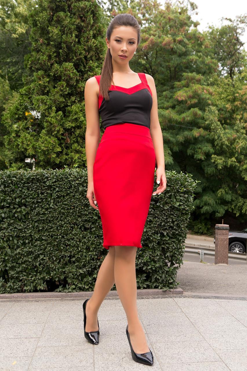 Красно-черный костюм с юбкой