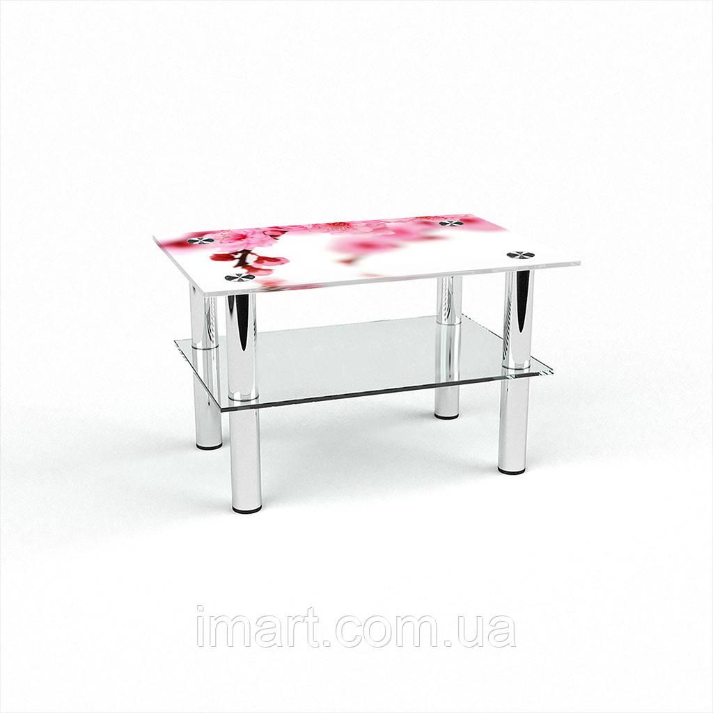 Журнальный стол прямоугольный с полкой Sakura стеклянный
