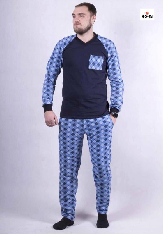 Пижама мужская трикотажная теплая голубая кофта со штанами 44-60р.