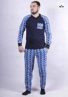 Піжама чоловіча трикотажна тепла блакитна кофта зі штанами 44-60р.