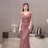Вечірня сукня рожева розкішна розшита вручну. Расшитое вечерние платье ручной работы