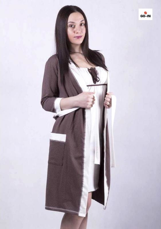 Жіночий комплект в пологовий будинок халат і сорочка, для вагітних і годуючих мам р. 42-54