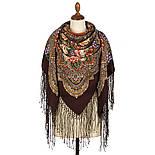 Цвет граната 1875-17, павлопосадский платок (шаль) из уплотненной шерсти с шелковой вязаной бахромой, фото 3