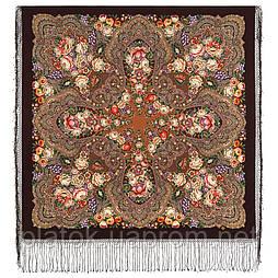 Цвет граната 1875-17, павлопосадский платок (шаль) из уплотненной шерсти с шелковой вязаной бахромой