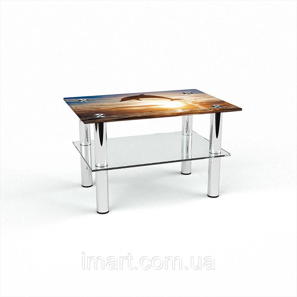 Журнальный стол прямоугольный с полкой Sunset стеклянный