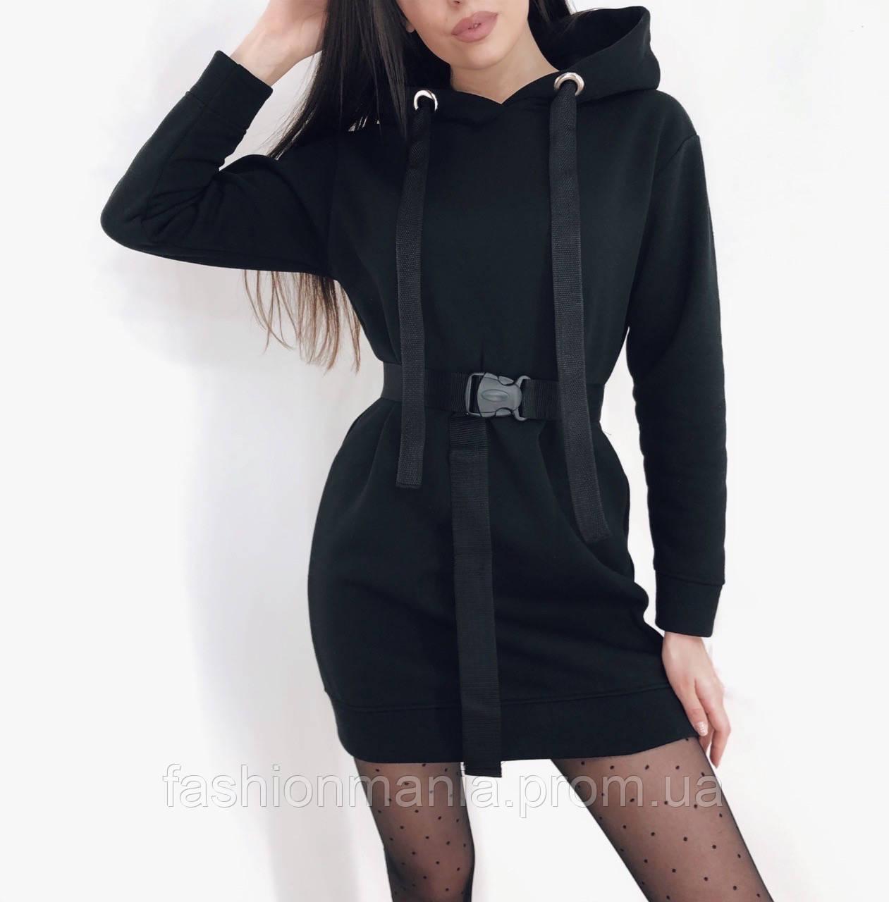 Платье туника с поясом чёрное, хаки