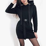 Платье туника с поясом чёрное, хаки, фото 1