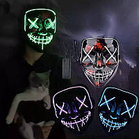 Светящаяся маска Неоновая маска - судный день, маска на хеловин, Неоновая LED маска ЗЕЛЕНАЯ