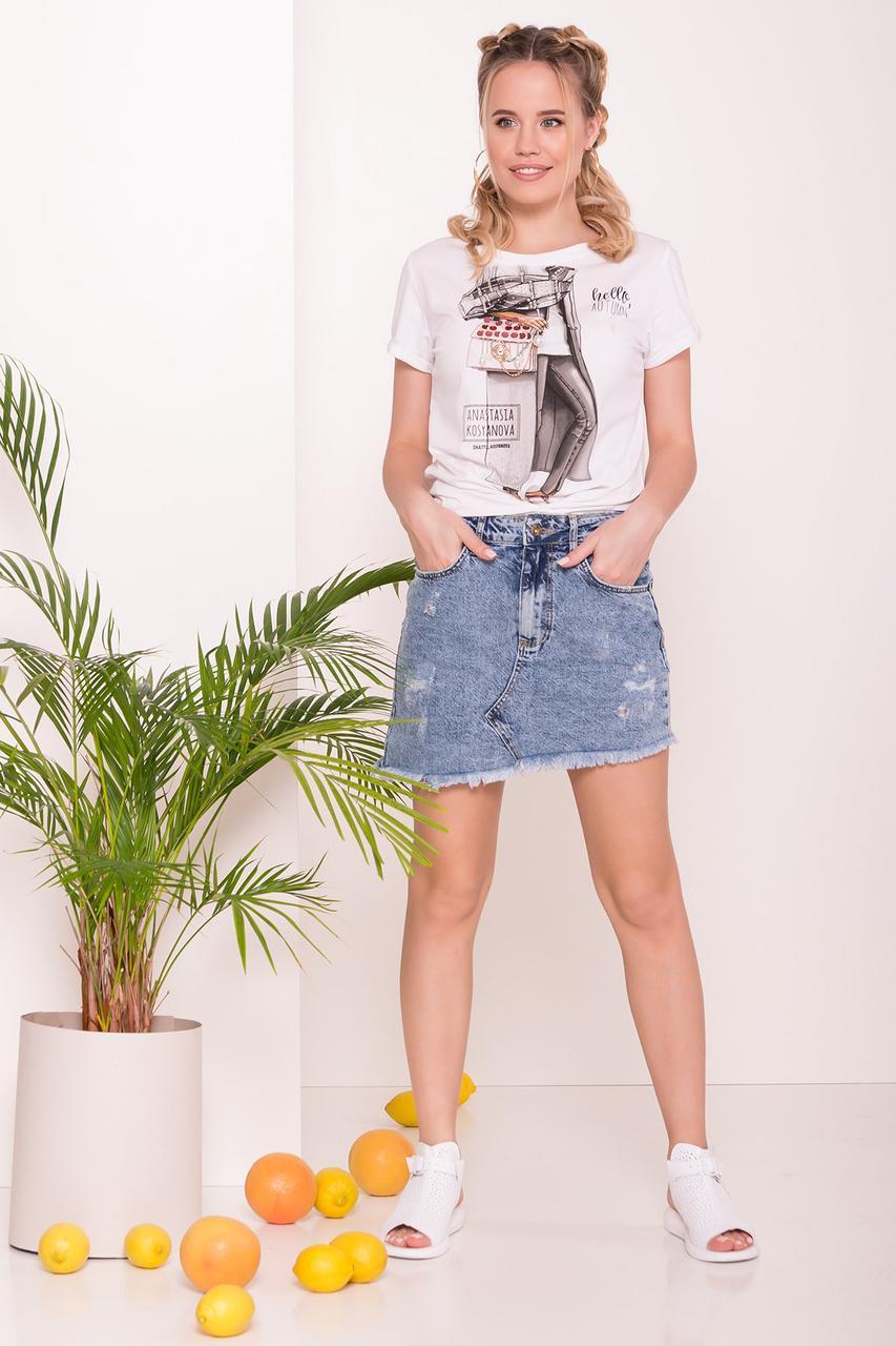 Косая джинсовая юбка 7430 АРТ.43207 р-р 26, 29, 30