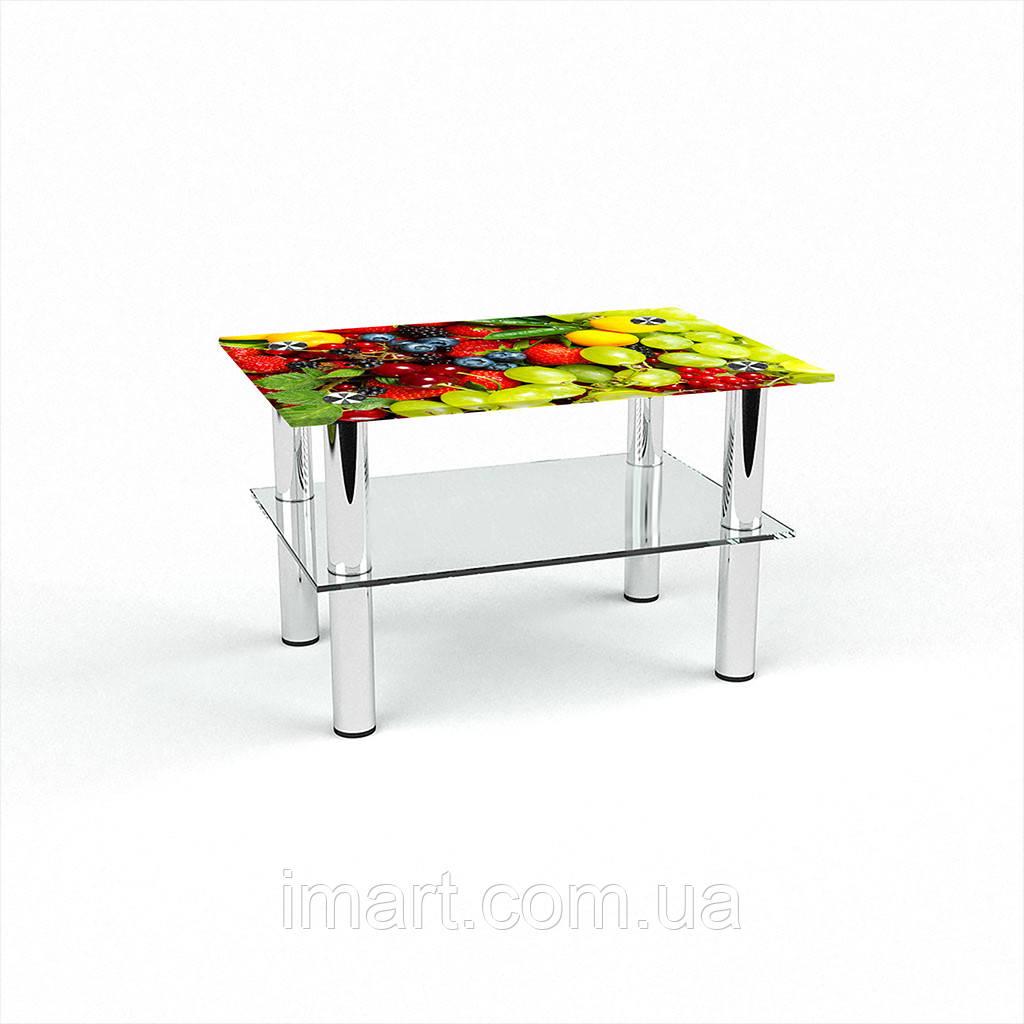 Журнальный стол прямоугольный с полкой Wood berry стеклянный