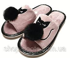 Жіночі тапочки оптом. 36-41рр. Модель тапочки YP15 котик, фото 3