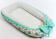 Кокон – гнездышко позиционер для новорожденных класика BabySoon Мятные ёжики 50х80см