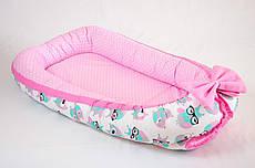 Кокон – гнездышко позиционер для новорожденных класика BabySoon Розовые совушки 50х80см
