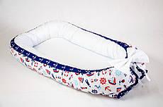 Кокон – гнездышко позиционер для новорожденных класика Морячок BabySoon 50х80см