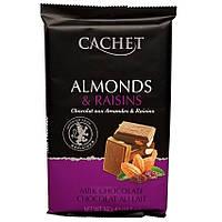Бельгийский шоколад Cachet молочный миндаль изюм 32% какао 300г
