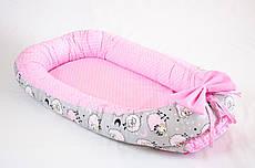 Кокон - позиціонер для малюка з непромокальним вкладишем BabySoon Рожеві баранці 50Х80см (457)