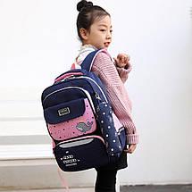 Дитячий шкільний рюкзак Mujer з рибкою з пеналом чорний з червоним, фото 2