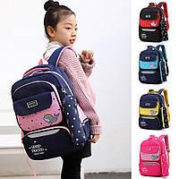 Детский школьный рюкзак Mujer с рыбкой с пеналом черный с розовым