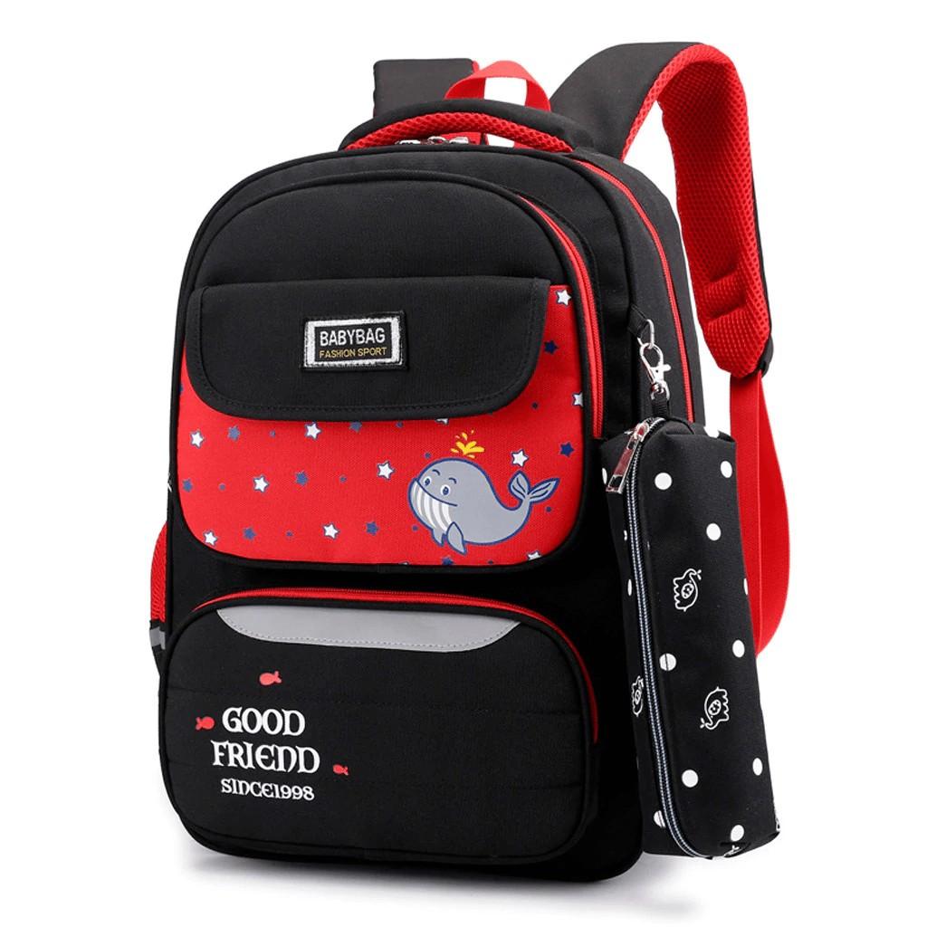 Дитячий шкільний рюкзак Mujer з рибкою з пеналом чорний з червоним