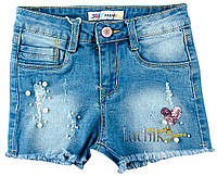 """Шорты джинсовые для девочки. Размер: 128. джинс. TM """"F_D"""" DY-1071. Венгрия."""