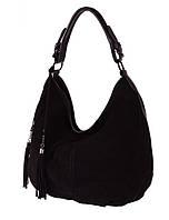 Сумка-мешок женская из натуральной замши и кожи 327 черный. Купить кожаные женские сумки оптом недорого
