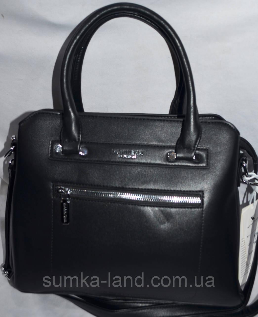 Женские сумочки внутри на 3 отдела и с ремешком 33*23 см (молочный и черный)