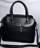 Женские сумочки внутри на 3 отдела и с ремешком 33*23 см (молочный и черный), фото 3