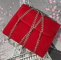 Вечерняя сумочка клатч велюровый красный(Турция)