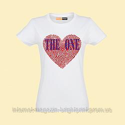 """Жіноча футболка з принтом """"Відбиток серця"""""""