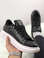 Женские кожаные кроссовки Alexander McQueen Black White Leather с мехом