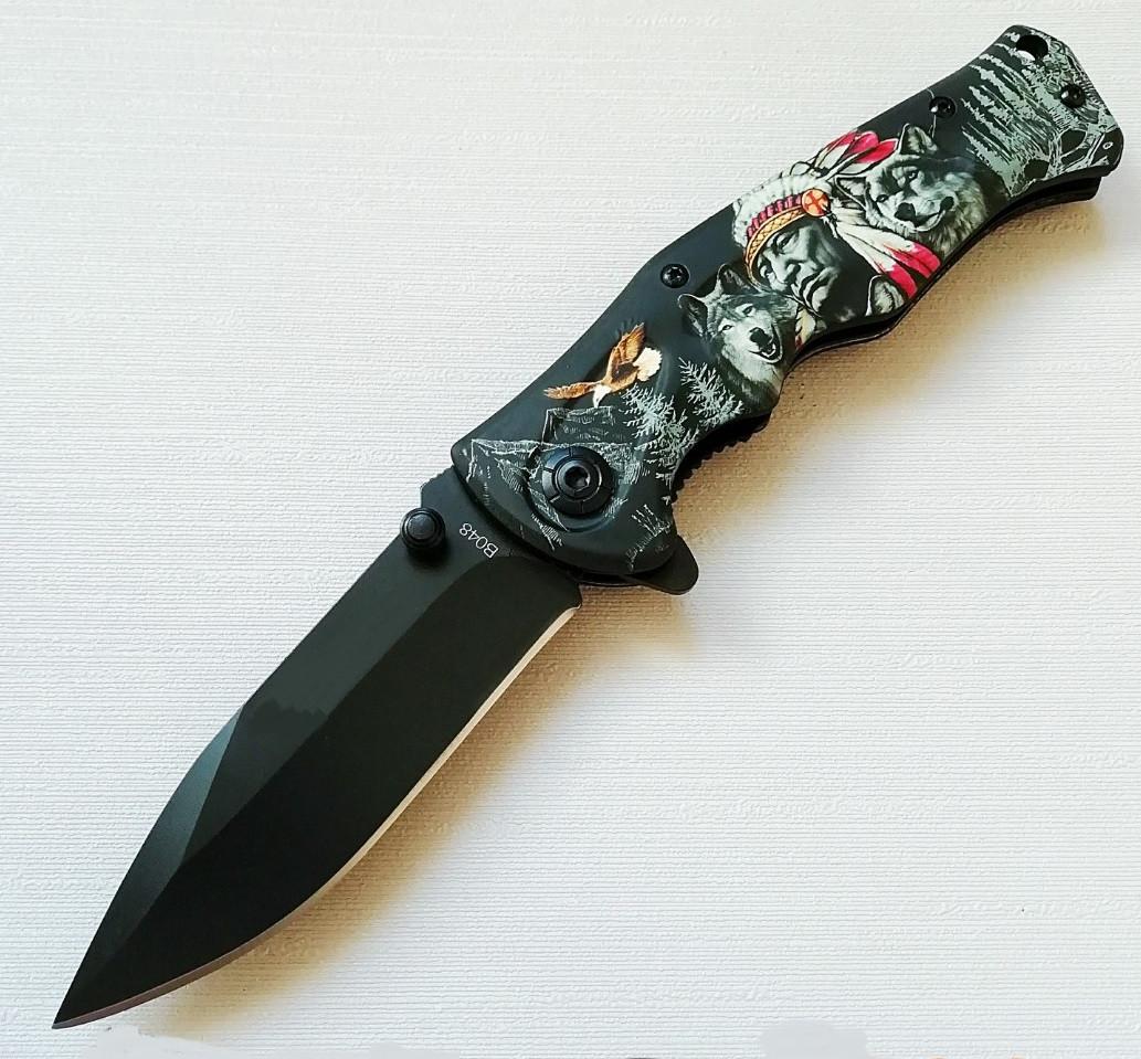 Нож складной Индеец, полуавтомат, клипса, карманные ножи