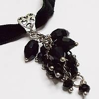 Чокер черный на шею с подвеской. Фурнитура под серебро, фото 1