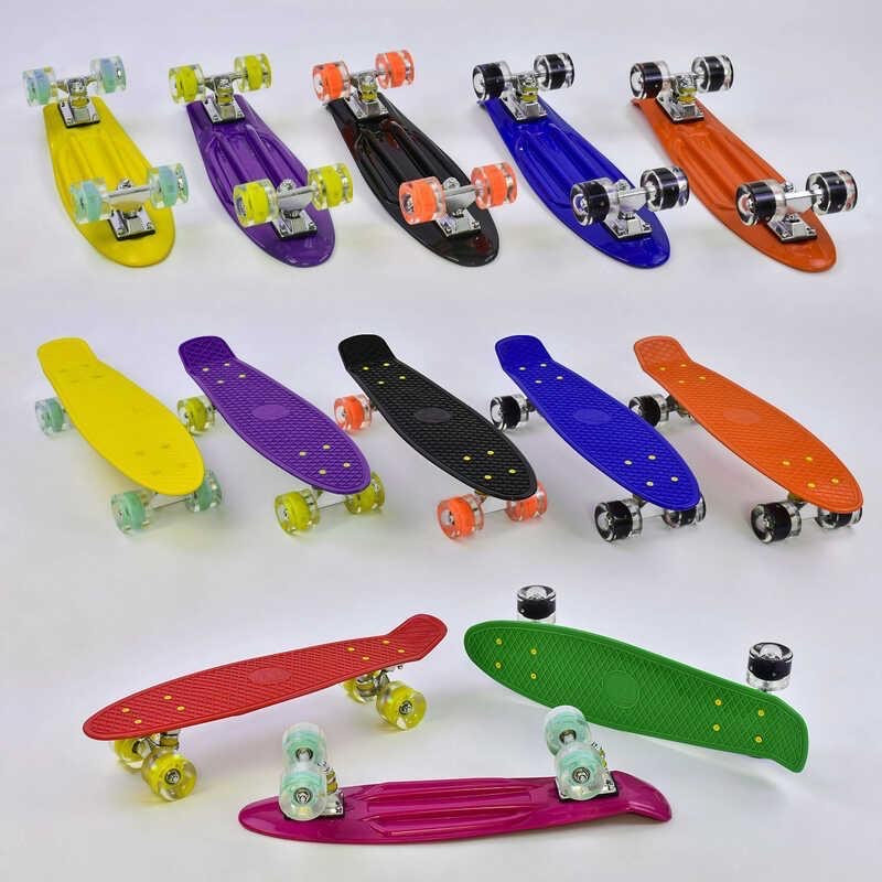 Скейт (пенни борд) Penny board со светящимися колесами колеса ОРАНЖЕВЫЙ арт. 76761
