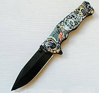 Нож складной Череп, полуавтомат, клипса, карманные ножи, фото 1